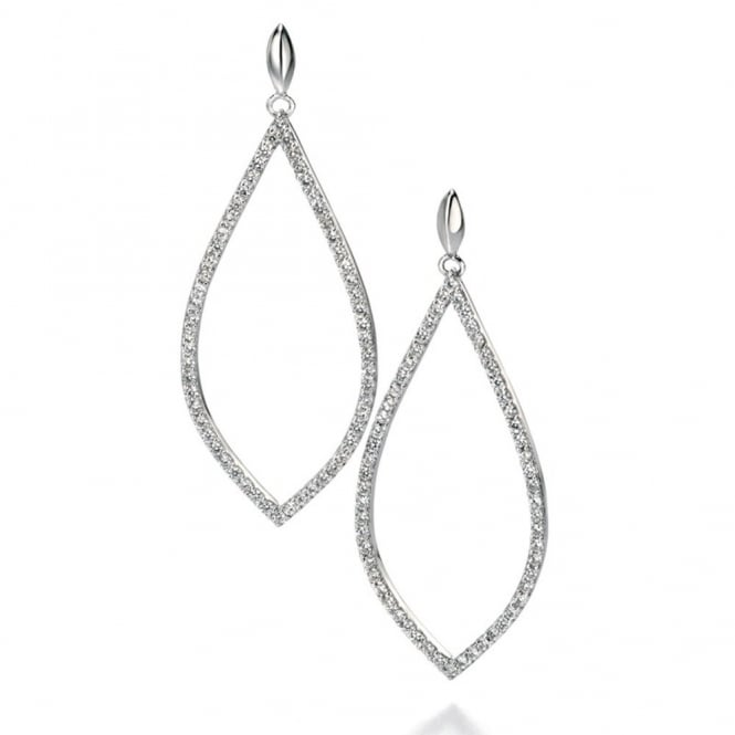 Silver CZ Pave Cutout Teardrop Earrings E4860C