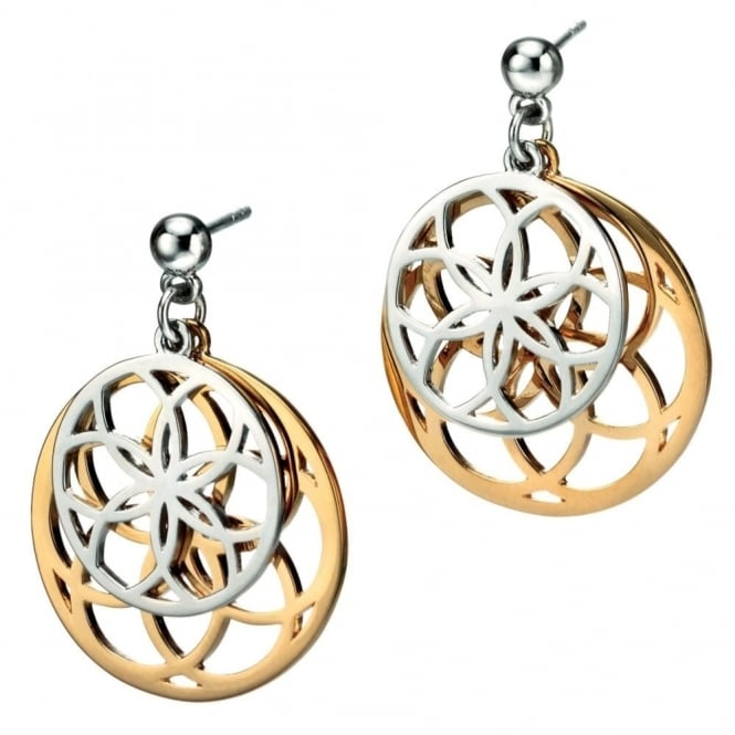 Silver & Gold Plate Double Disc Earrings E4801