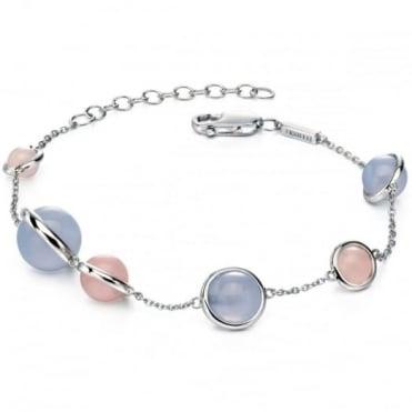 Fiorelli Silver Rose & Blue Bead Bracelet B4777