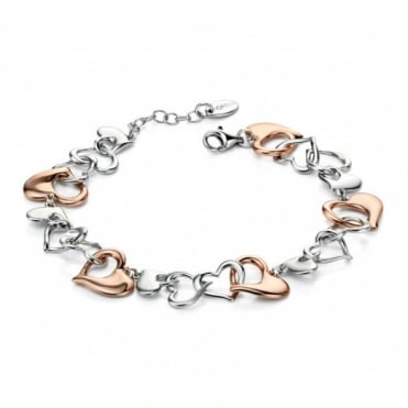 Silver & Rose Gold Multi Heart Bracelet B4537