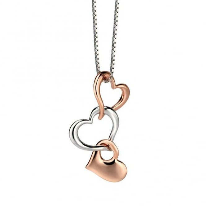 Silver & Rose Gold Multi Heart Pendant P4121