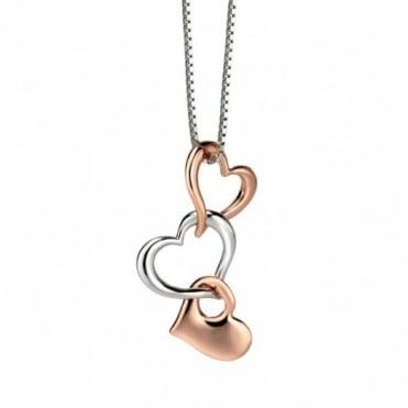 Fiorelli Silver & Rose Gold Multi Heart Pendant P4121