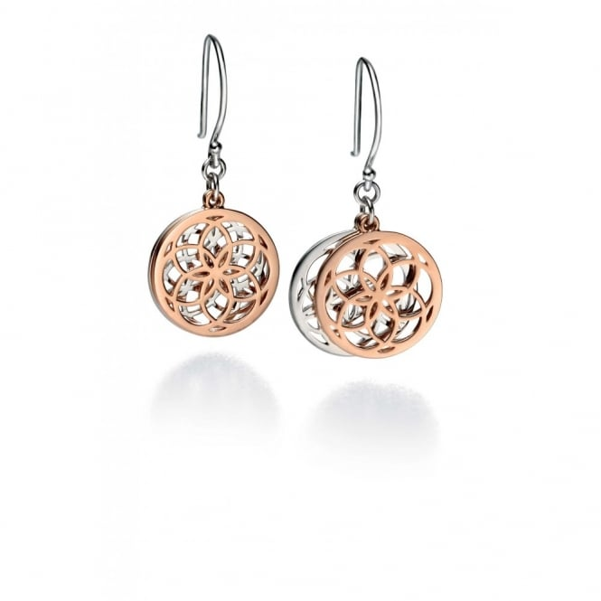 Silver & Rose Plate Disc Earrings E4800