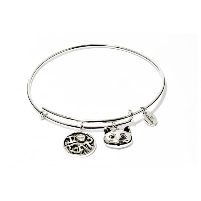 Friend & Family I Love My Cat Rhodium Plated Bangle CRBT0712SP