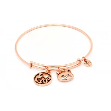 Friend & Family I Love My Cat Rose Gold Plated Bangle CRBT0712RG