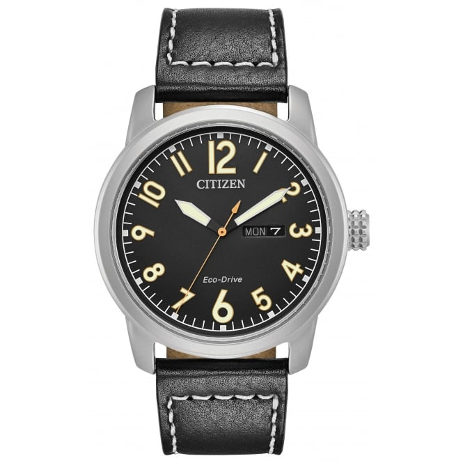 Gent's Black Leather Eco-Drive Watch BM8471-01E