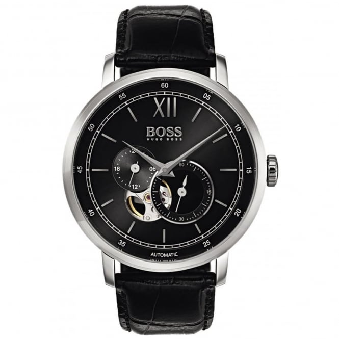 Gent's Black Leather Signature Automatic Watch 1513504