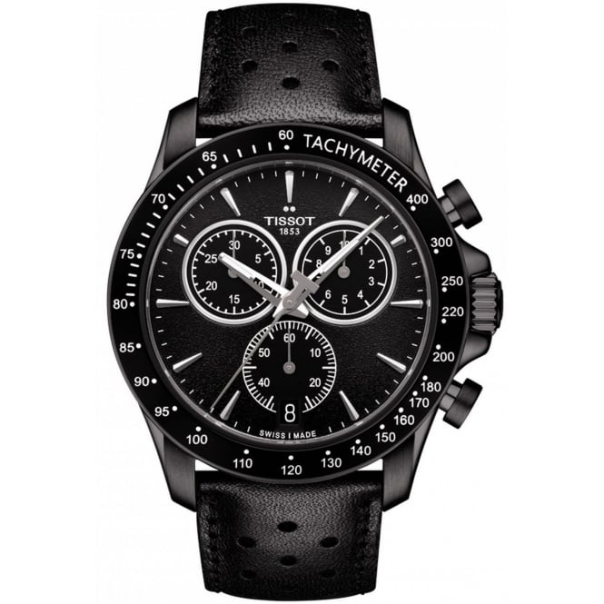 Gent's Black Leather V8 Chronograph Watch T1064173605100