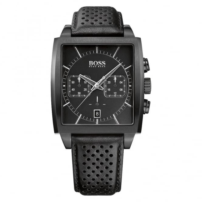 Gent's Black PVD Black Leather Heritage Watch 1513357