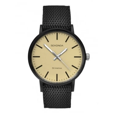 Gents' Black Reversible Strap Watch 1494
