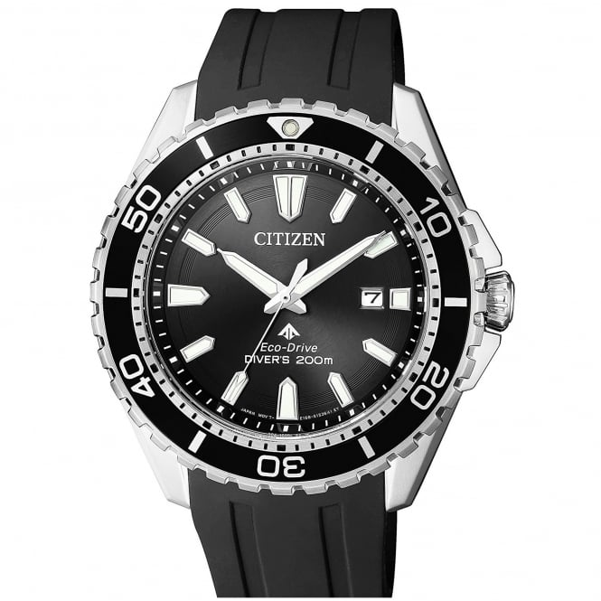 Gent's Black Rubber Promaster Divers Eco-Drive Watch BN0190-07E