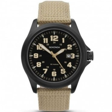 Gent's Black S/Steel Beige Fabric Strap Watch 3505