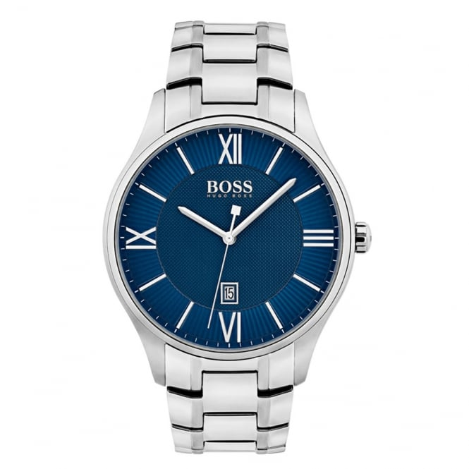Gents Blue Dial Stainless Steel Strap Watch 1550058