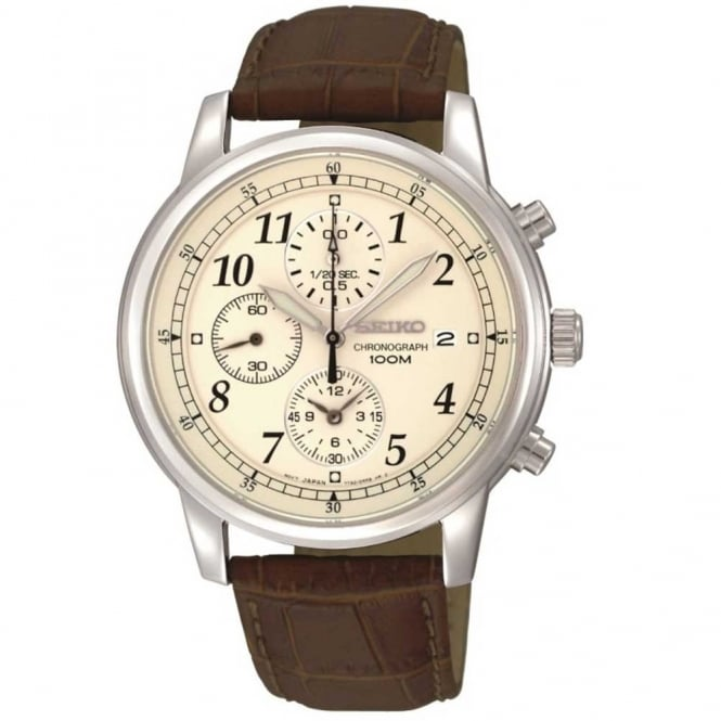 Gent's Brown Leather Chronograph Watch SNDC31P1