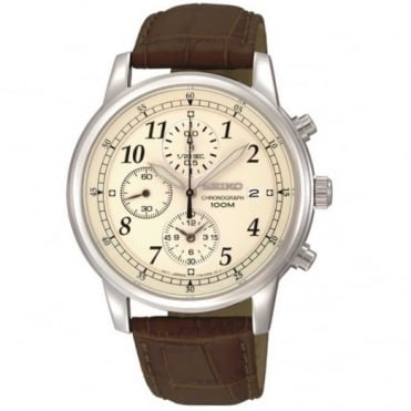 Seiko Gent's Brown Leather Chronograph Watch SNDC31P1
