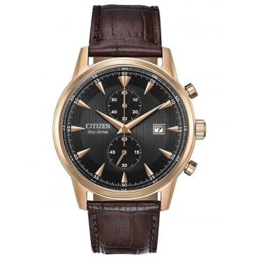 Gent's Brown Leather Corso Eco-Drive Watch CA7003-06E