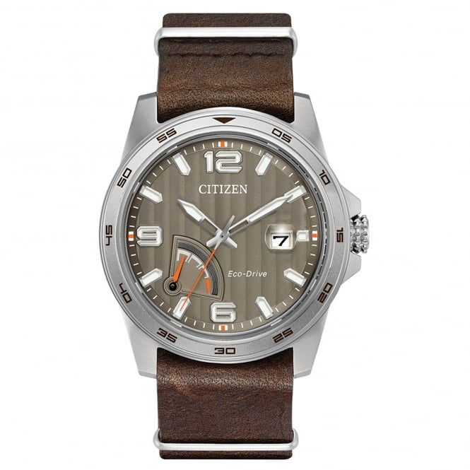 Gent's Brown Leather Eco-Drive Watch AW7039-01H