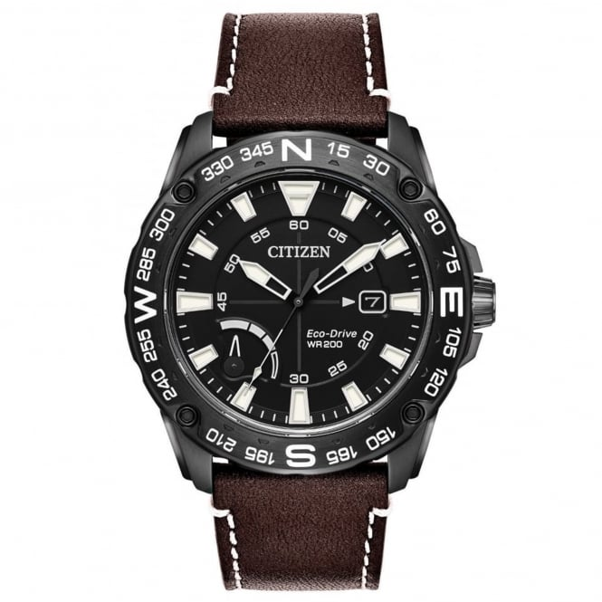 Gent's Brown Leather Eco-Drive Watch AW7045-09E