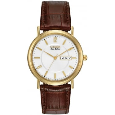 Gent's Brown Leather Eco-Drive Watch BM8242-08A