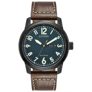 Gent's Brown Leather Eco-Drive Watch BM8478-01L