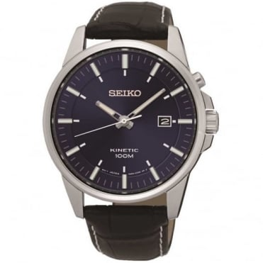 Seiko Gent's Brown Leather Kinetic Watch SKA731P1