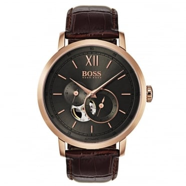 Gent's Brown Leather Signature Automatic Watch 1513506