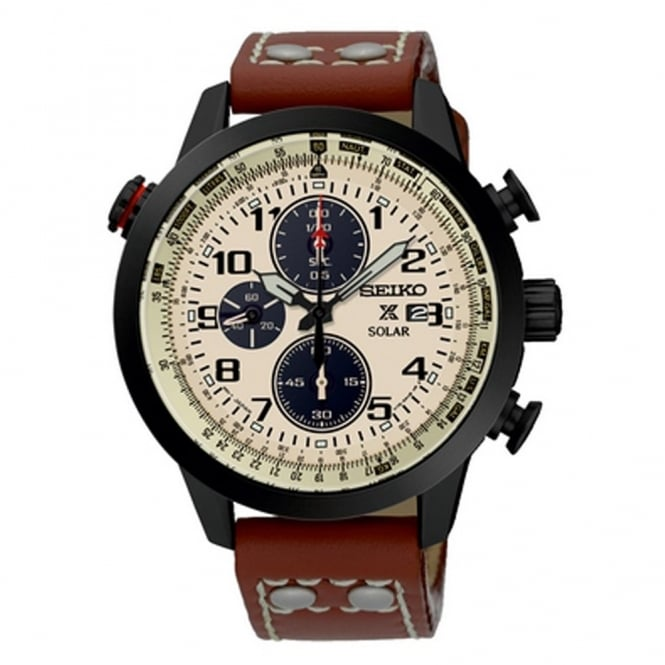Gent's Brown Leather Solar Chronograph Prospex Watch SSC425P1
