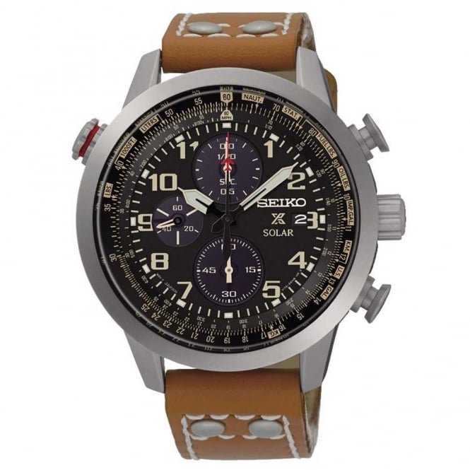 Gent's Brown Leather Solar Prospex Watch SSC421P1