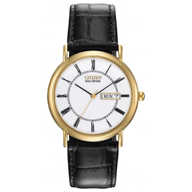 Gents Gold Plate Black Leather Strap Watch BM8242-16A