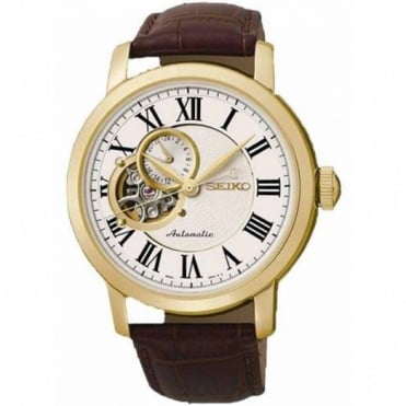 Gent's Gold Plate Brown Leather Automatic Watch SSA232K1