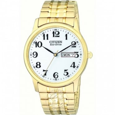 Citizen Gents Gold Plate Expadning Strap Eco-Drive Watch BM8452-99A