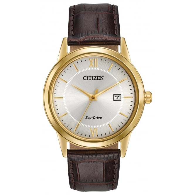 Gents Gold Plate Leather Strap Eco-Drive Watch AW1232-04A