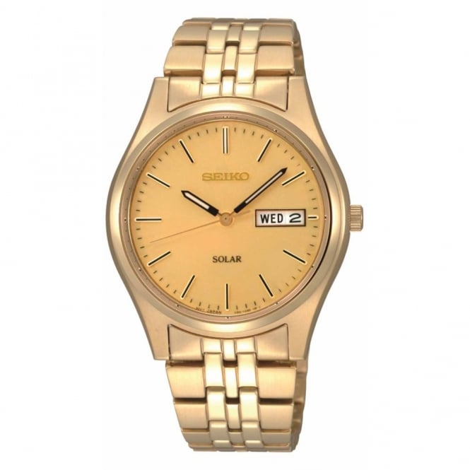 Gent's Gold Plate Solar Powered Watch SNE036P1