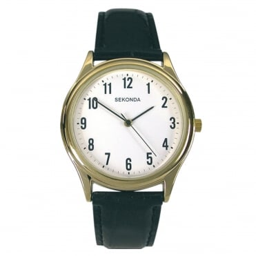 Gent's Gold Plated Black Leather Strap Watch 3623