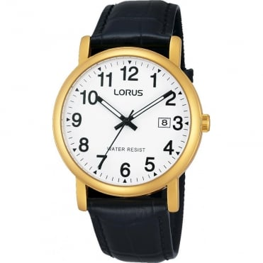 Gent's Gold Plated Black Leather Watch RG836CX9