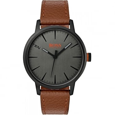 Gents Grey Dial Tan Leather Strap Watch 1550054