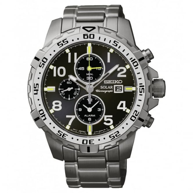 Gent's Gun Metal Chrono Solar Watch SSC307P9