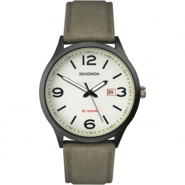 Gents' Luminous Black/Green Strap Watch 1507