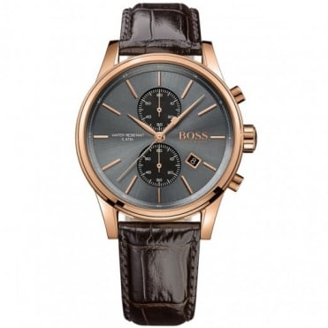 Hugo Boss Gent's Rose & Brown Leather Jet Watch 1513281