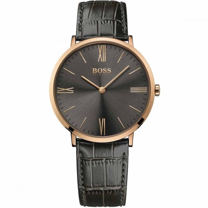 Hugo Boss Gent's Rose Gold Plate Grey Leather Jackson Watch 1513372