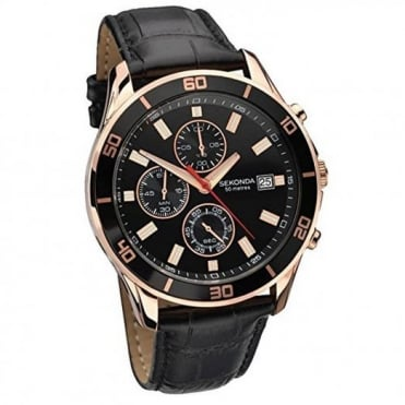 Gents' Rose Gold Plated Black Leather Night Fall Chronograph Watch 1051