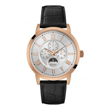 Gent's Rose Plate Black Leather Delancy Watch W0870G2