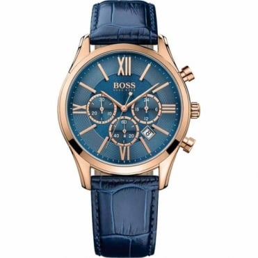 Hugo Boss Gent's Rose Plate Blue Leather Ambassador Watch 1513320