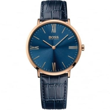 Hugo Boss Gent's Rose Plate Blue Leather Jackson Watch 1513371