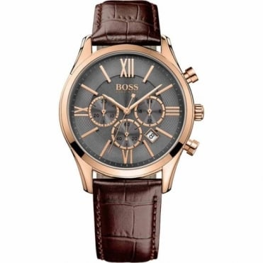 Hugo Boss Gent's Rose Plate Brown Leather Ambassador Watch 1513198