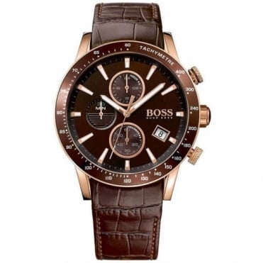 Hugo Boss Gent's Rose Plate Brown Leather Chrono Rafale Watch 1513392