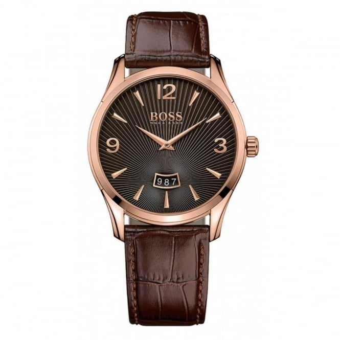 Hugo Boss Gent's Rose Plate Brown Leather Commander Watch 1513426