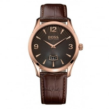 Gent's Rose Plate Brown Leather Commander Watch 1513426