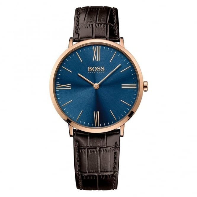 Hugo Boss Gent's Rose Plate Brown Leather Jackson Watch 1513458
