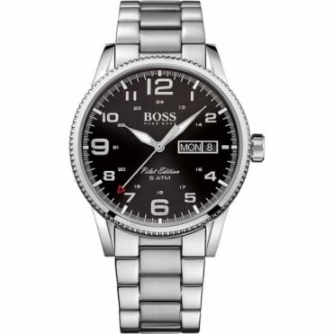 Hugo Boss Gent's S/Steel Black Dial Pilot Watch 1513327